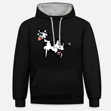 cow /vache / kuh - Unisex Contrast Hoodie