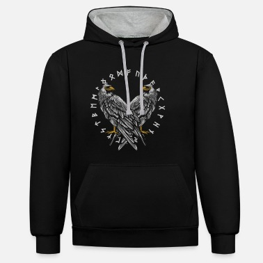 Germanic Tribes Odin's raven with Futhark circle - Unisex Contrast Hoodie