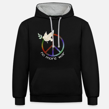 NO MORE WAR | Peace Design | Dove with a branch - Unisex Contrast Hoodie