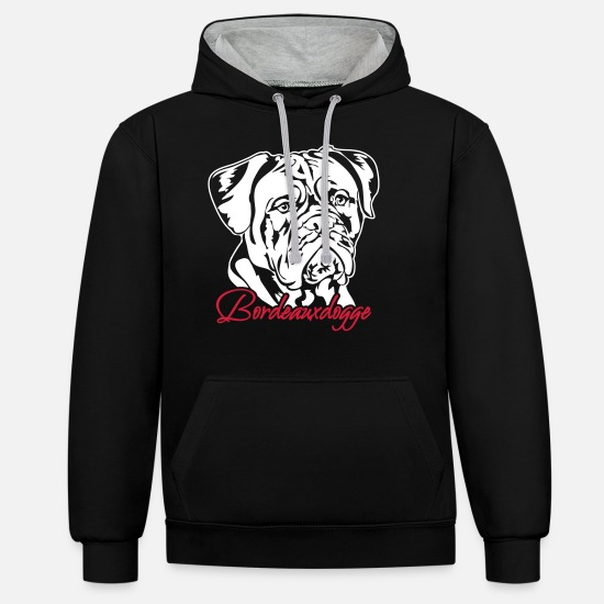 Bordeaux Sweat-shirts - Dogue de Bordeaux - Sweat à capuche contrasté unisexe noir/gris chiné