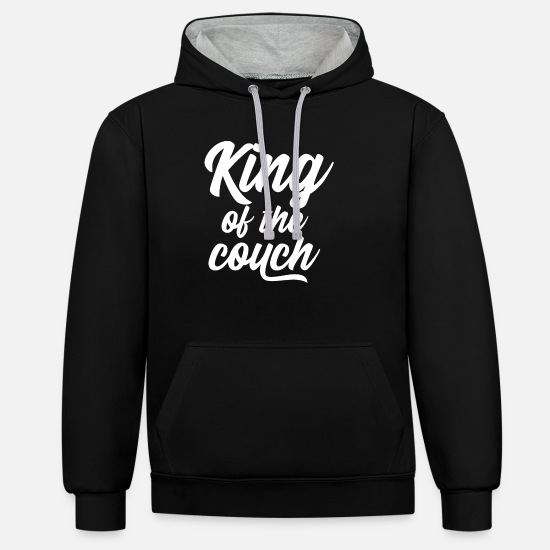 Couch Pullover & Hoodies - King of the couch white - Unisex Hoodie zweifarbig Schwarz/Grau meliert
