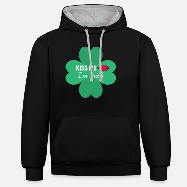 Kiss Kiss Me I'm Irish Shamrock and Lips - Unisex contrast hoodie