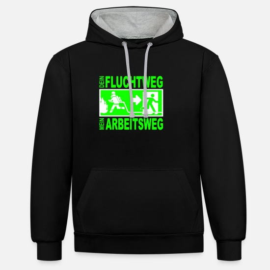 Fire Extinguisher Hoodies & Sweatshirts - Escape Fire Department Fire Emergency Exit Fire Gift - Unisex Contrast Hoodie black/heather grey