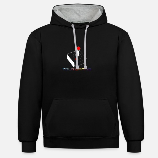 Love Hoodies & Sweatshirts - Old School Joystick | Retro Hardware | Vintage Gaming - Unisex Contrast Hoodie black/heather grey