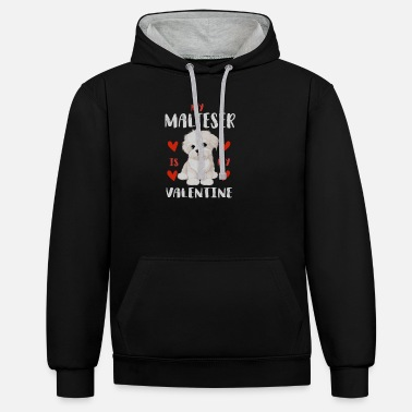 Beady Eyes Sweet Maltese White Puppy for Valentine's Day - Unisex Contrast Hoodie