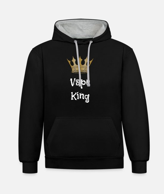 Design Hoodies & Sweatshirts - Vape shirt with a funny royal crown - Unisex Contrast Hoodie black/heather grey