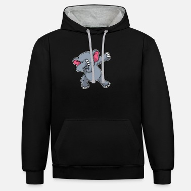 Dabbing Funny Dabbing Elephant Dab Elephants Lover Gift - Unisex Contrast Hoodie