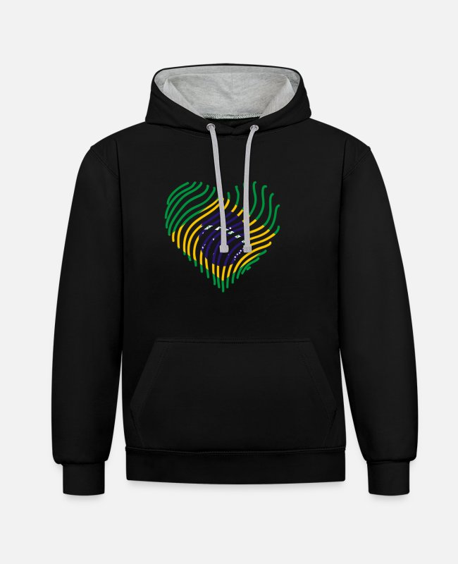 South America Hoodies & Sweatshirts - Brazil - Unisex Contrast Hoodie black/heather grey