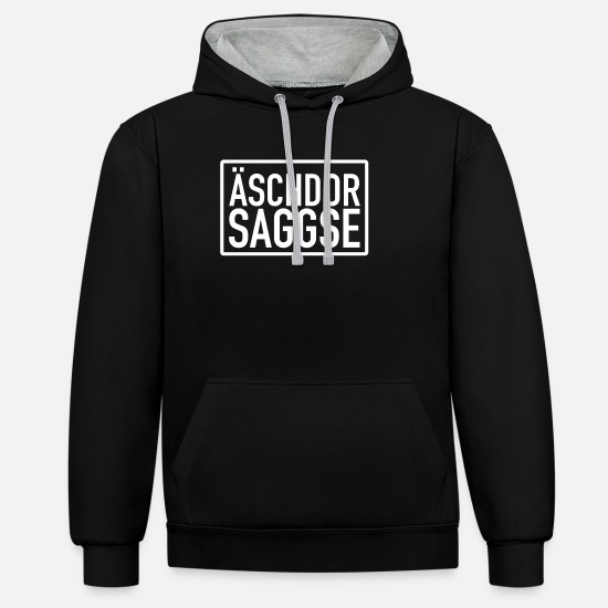 Federal State Hoodies & Sweatshirts - Äschdor Saggse - Real Saxon Saxon dialect - Unisex Contrast Hoodie black/heather grey