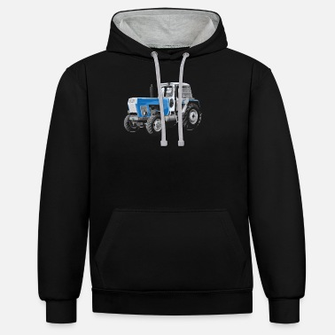 Blue Progress tractor blue tractor farmer gift - Unisex Contrast Hoodie