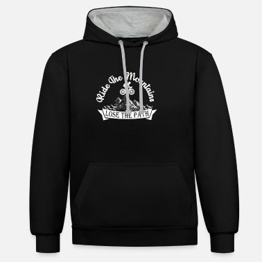 Twowheeled Ride The Mountains Lose The Path MTB Biking Gift - Unisex Contrast Hoodie