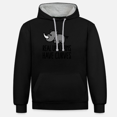 Fat Real unicorns have curves - Unisex Contrast Hoodie