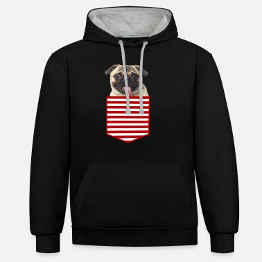 Pug Pocket Design Apparel - Unisex Contrast Hoodie