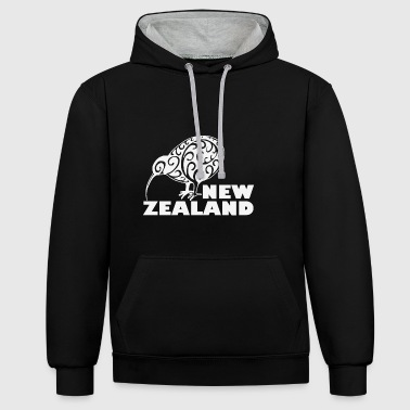 New Zealand: Kiwi with lettering in white - Contrast Colour Hoodie