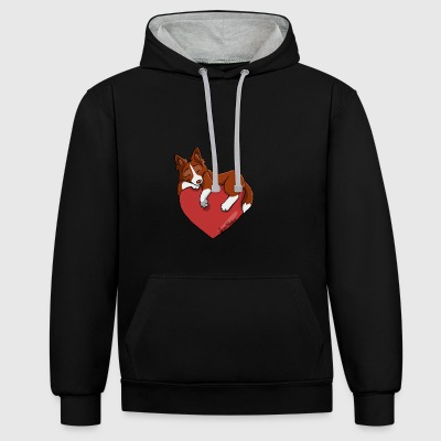 Border Collie Rouge - Sweat-shirt contraste