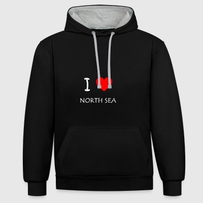 I Love North Sea - Kontrast-Hoodie