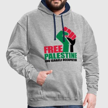 Free Palestine End Israeli Occupation - Contrast Colour Hoodie
