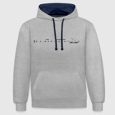 Chant England Football Fan Chant in Music - Contrast Colour Hoodie