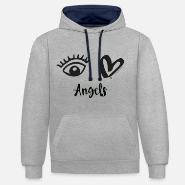 Eye-Love Angels Black - Contrast Colour Hoodie