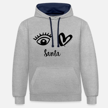 Eye-Love Santa - Contrast Colour Hoodie