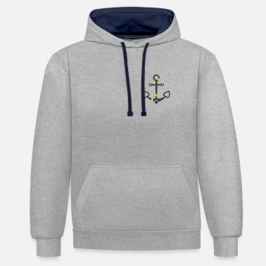 Nautical Anchor hoes nautical sailor sailboat - Contrast Colour Hoodie