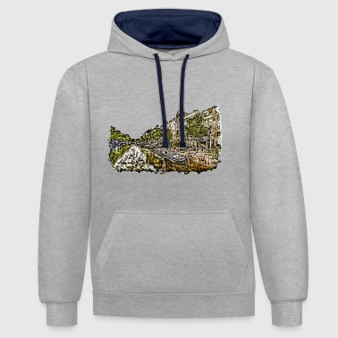 Amsterdam - drawing of a canal with houses - Contrast Colour Hoodie