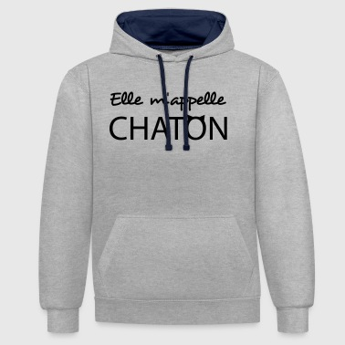 Elle m'appelle chaton - Sweat-shirt contraste