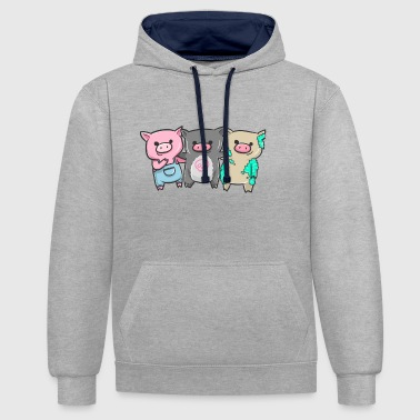 Three little pigs i gift idea - Contrast Colour Hoodie