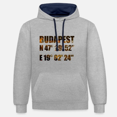 Budapest Budapest with coordinates - Contrast Colour Hoodie