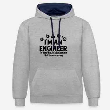 Engineer IM AN ENGINEER - Contrast Colour Hoodie