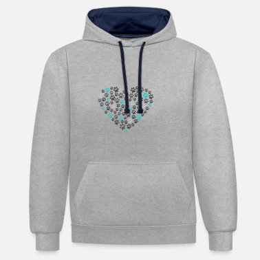 Paw Print Dog paws love heart - Contrast Colour Hoodie