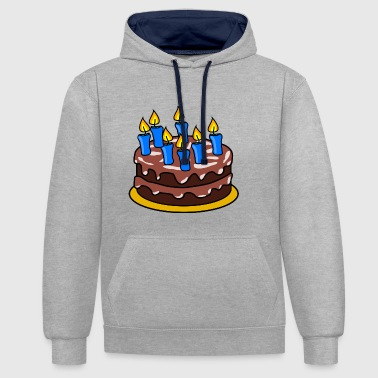 Birthday Cake Birthday cake, chocolate cake - Contrast Colour Hoodie
