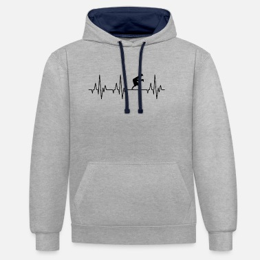 Hip Heartbeat EKG Breakdance Breakdancing Hip-Hop - Unisex kontrast hettegenser