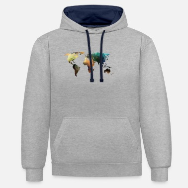 Carte carte du monde - Sweat-shirt contraste