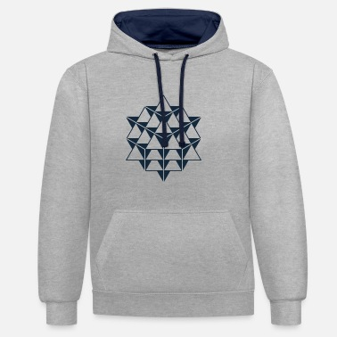 64 Tetrahedron Grid, Sacred Geometry - Contrast Colour Hoodie