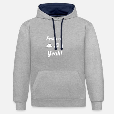 Party Festival Yeah White - Contrast hoodie