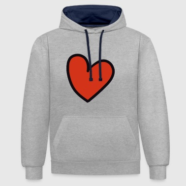 crooked heart - Contrast Colour Hoodie