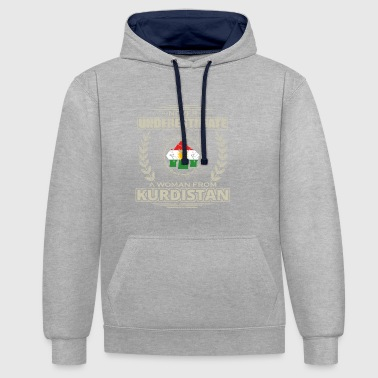 Never Underestimate Girl Woman KURDISTAN png - Contrast Colour Hoodie