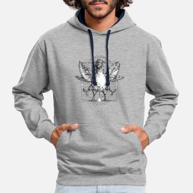 The rooster Vitruvian - Contrast Colour Hoodie