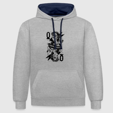 Queen Of Hearts Queen of Hearths / Queen of Hearts - Contrast Colour Hoodie