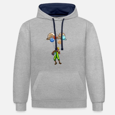 Clown Clown with planet Circus astronomy gift idea - Contrast Colour Hoodie