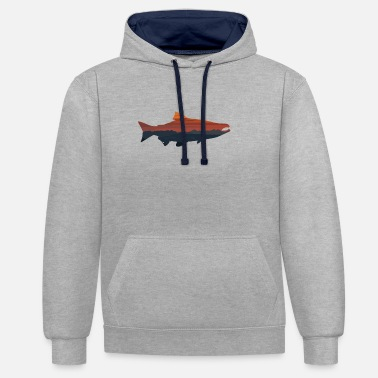 Salmon Salmon - Fishing Angler Nature Outdoor Gift - Contrast Colour Hoodie