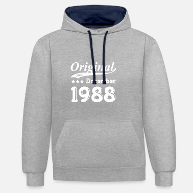 1988 Original Since December 1988 Gift - Contrast Colour Hoodie