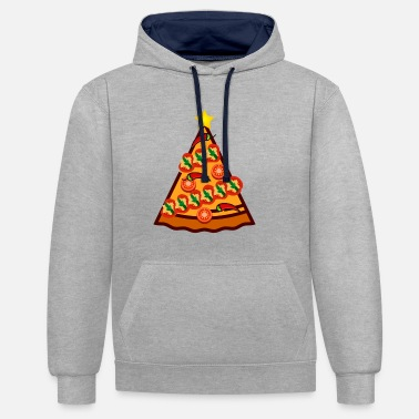 Christmas Pizza Tree Star Santa Claus Decoration - Contrast Colour Hoodie