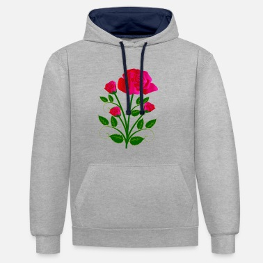 Red Rose Red roses - Contrast Colour Hoodie