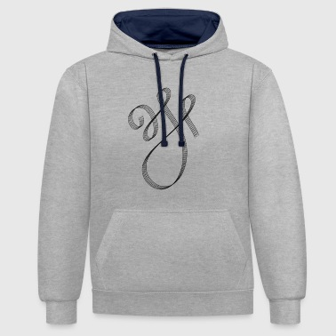 Calligraphic Curved Calligraphic Swash - Contrast Colour Hoodie