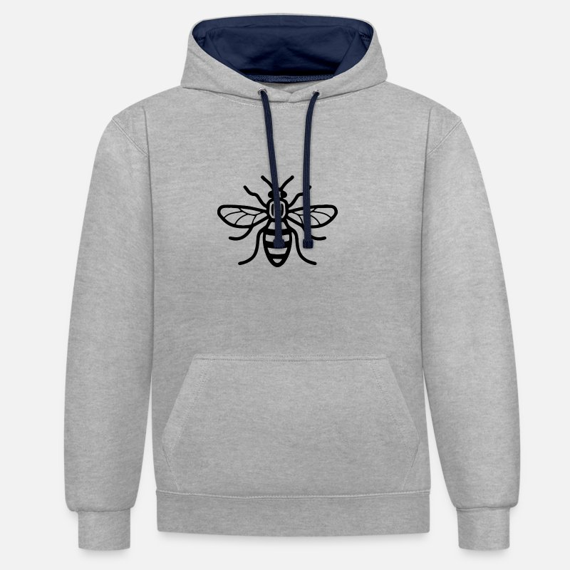 Manchester Hoodies & Sweatshirts - Manchester Bee - Unisex Contrast Hoodie heather grey/navy