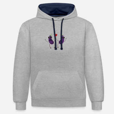 Heart &amp Aubergines who love each other - Unisex Contrast Hoodie