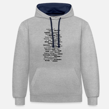 State United States of America United States of America states - Contrast Colour Hoodie