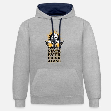 Oktoberfest 92 Skull Skull Beer You never ever drink alone - Contrast Colour Hoodie